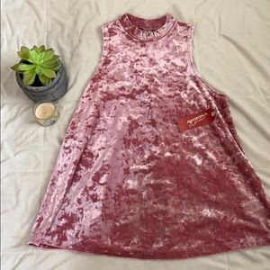 Pink velvet tank top with small turtle neck